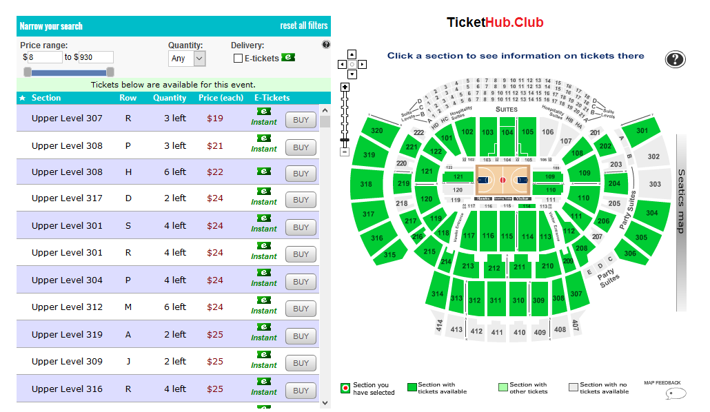 Tickethub seating chart example